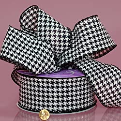 Houndstooth Grosgrain Ribbon, 2-1/2 X 25yd