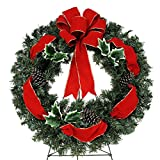 Sympathy Silks® 24in Wreath with Ribbon Holly and Bow on Easel (WR1438) Sale