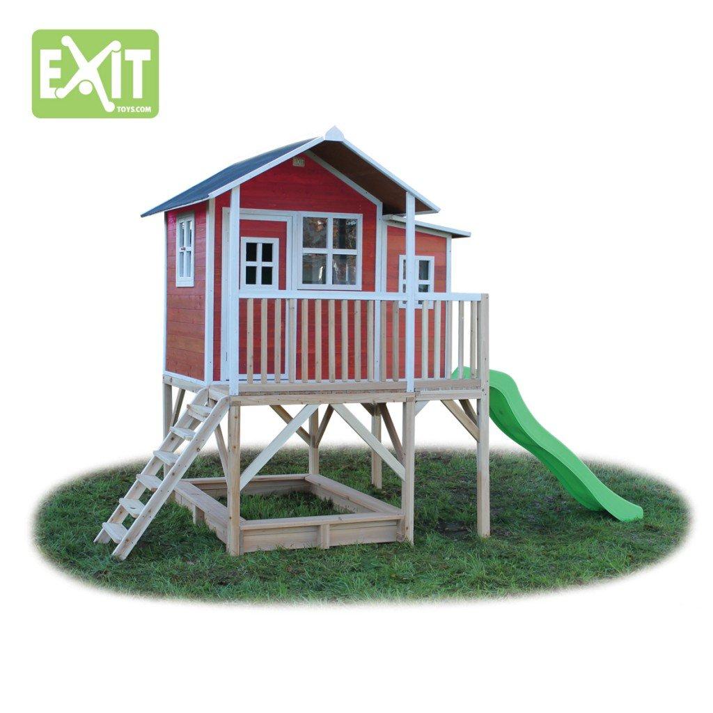 EXIT Loft 550 rotbraun / Spielhäuschen auf Stelzen mit Veranda+Rutsche + Sandkasten / Zedernholz / Maße: 170 x 171 x 250 cm / 172,5 kg / 3+ günstig bestellen