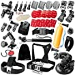 Zookki 39 in 1 Ultimate Combo Accessory Kit for GoPro Hero 4 3+ 3 2 1 Black Silver Accessories Bundle Kit for GoPro 4 3+ 3 2 1 and SJ4000 SJ5000 SJ6000, Sports Camera Accessory Set in Parachuting Swimming Rowing Surfing Skiing Climbing Running Bike Riding Camping Diving Outing Any Other Outdoors Sports