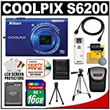 Nikon Coolpix S6200 Digital Camera (Blue) with 16GB Card + Battery + Tripod + Case + HDMI Cable + Accessory Kit