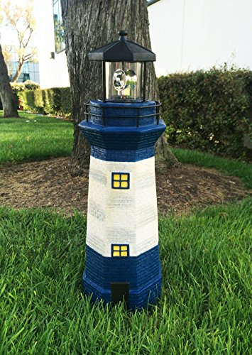 "Solar Lighthouse Garden Stake Light With Revolving Beacon, 31"" Tall, Blue & Ivory"