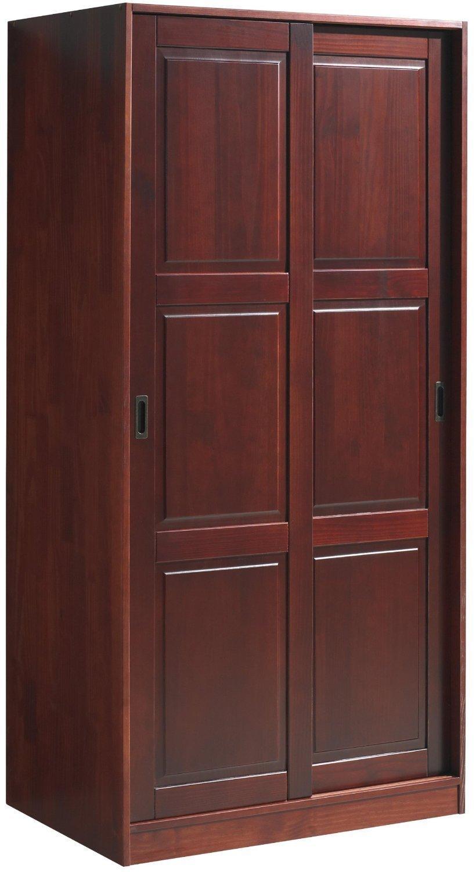 100 solid wood wardrobe w 2 sliding raised panel doors 3 for 100 doors door color