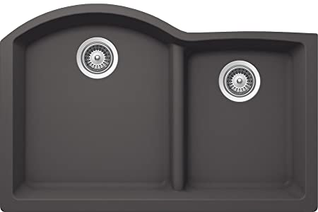 SCHOCK EDON175YU041 EDO Series CRISTALITE 70/30 Undermount Double Bowl Kitchen Sink, Basalt