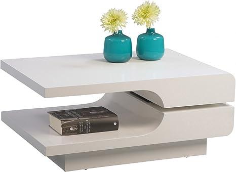 Dreams4Home Couchtisch 'Belli' 80x56 cm Weiß Hochglanz Beistelltisch Sofatisch Drehbar