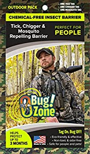 0Bug!Zone 3 Piece Tick, Chigger, Mosquito Barrier Tags for People