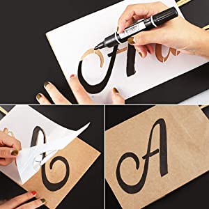 40 Pieces Letter Stencils for Painting on Wood, Reusable Plastic Alphabet Stencils with Calligraphy Font Upper and Lowercase Letters, Numbers and Signs, 8.27x5.9