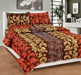 Soni Traders Contemporary Floral Print Polycotton Double Bedsheet With 2 Pillow Covers (BST_115, Brown)