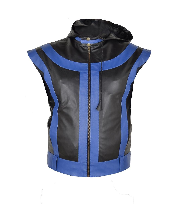 Mens 5 star Black & Blue Real Sheep Leather Vest günstig bestellen