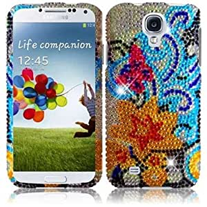 HR Wireless Full Diamond Protective Cover for Samsung Galaxy S4 - Retail Packaging - Yellow Lily
