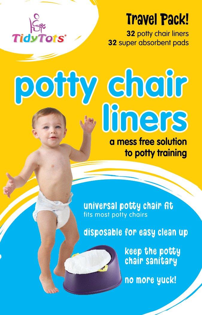 TidyTots Disposable Potty Chair Liners - Travel Pack XL - Fits All Potty Chairs - 32 Liners and 32 Super-Absorbent Pads