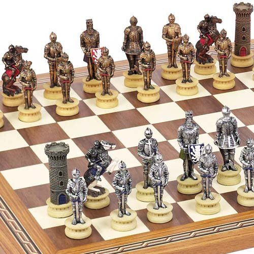Medieval Chessmen & Fulton Street Chess Board From Spain.