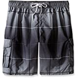 Kanu Surf Men's Big Vector Plaid Extended Size Swim Trunks, Charcoal, 2X