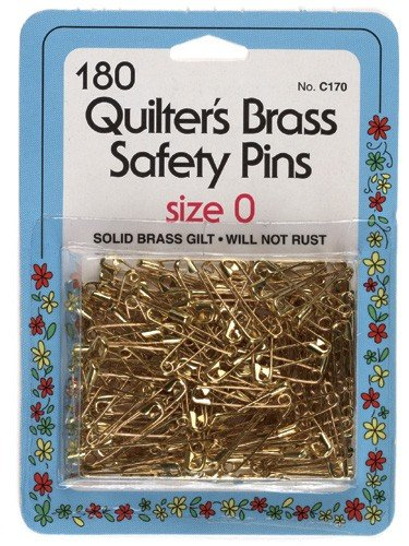 Collins Quilters Brass Safety Pins Size0 180pc