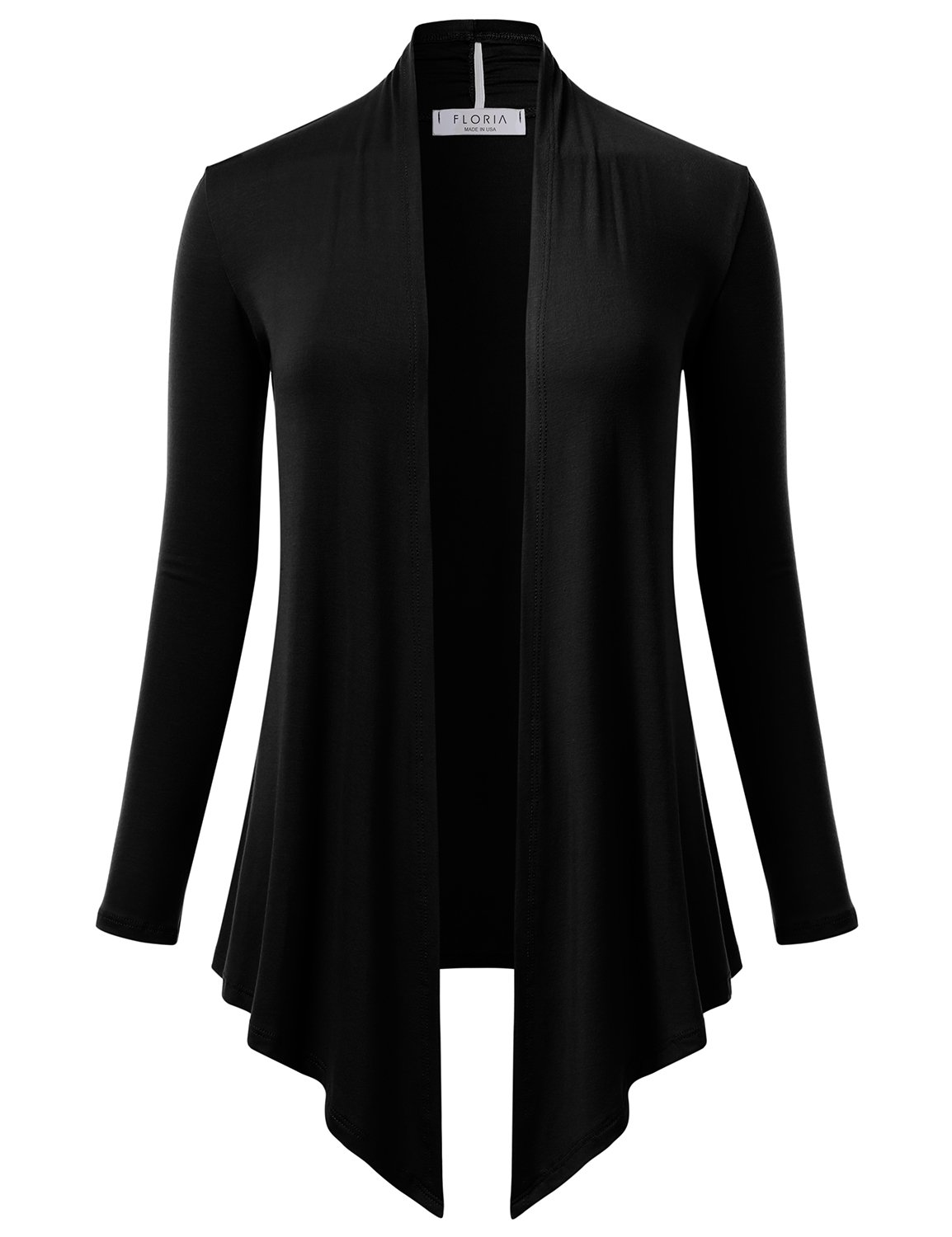 Long Sleeve Knit Open Front Drape Cardigan