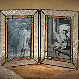 J Devlin Vintage, Sage, Amber & Rose Photo Frame - Holds Two 4x6 Vertical Photos