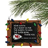 Kansas City Chiefs Official NFL 3 inch x 4 inch Chalkboard Sign Christmas Ornament
