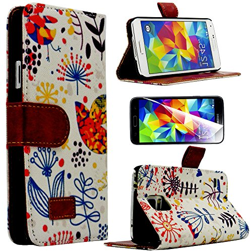 Mylife Cream, Colorful Abstract Style Print - Contemporary Design - Koskin Faux Leather (Card, Cash And Id Holder + Magnetic Detachable Closing) Slim Wallet For New Galaxy S5 (5G) Smartphone By Samsung (External Rugged Synthetic Leather With Magnetic Clip front-412174
