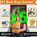 [Pack of 5] Magnetic Screen Door, Quick Install Mesh Curtain, Auto Close Magnets, Pet & Toddler Friendly, Walk Through Hands Free, Fit 32