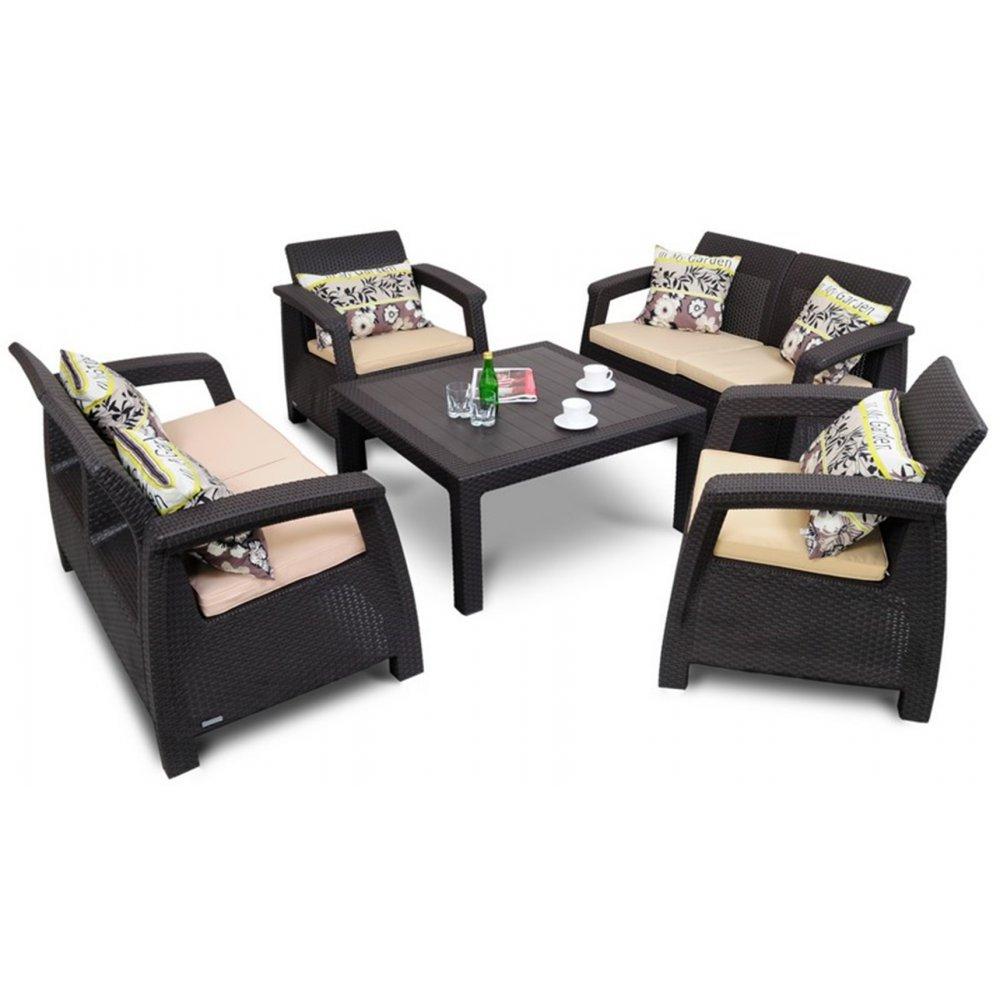 JUSThome Corfu Fiesta Family Gartenmöbel Sitzgruppe Gartengarnitur 2x Sessel + 2x Sofa + Tisch in Rattan-Optik Braun Beige bestellen