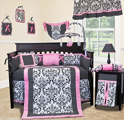 SISI Baby Bedding - Rose Damask 14 PCS Crib Bedding incl. Musical Mobile