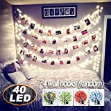 AbeyongD 40 LED Photo Clips String Lights,18ft USB Powered , Fairy String Lights for Hanging Photos Pictures Cards and Memos, Ideal gift for Bedroom Decoration (Warm White)