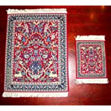 Lextra Tree of Life MouseRug and CoasterRug Set, 10.25 x 7.125 Inches, Red, Blues and White, One MouseRug and One Matching CoasterRug (CTL-S)