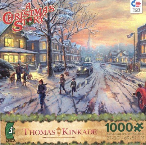 THOMAS KINKADE A CHRISTMAS STORY 1000 Piece Jigsaw Puzzle MADE IN USA PUZZLE