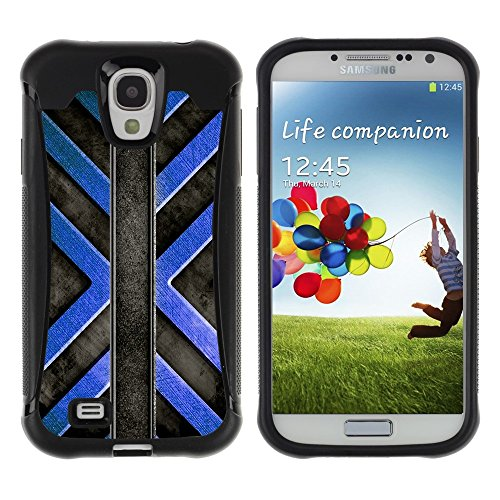 iArmor HYBRID Hülle Bumper Schutzhülle / Black Blue Cross Pattern / Samsung Galaxy S4