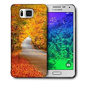 Snoogg Orange Leaves Printed Protective Phone Back Case Cover For Samsung Galaxy SAMSUNG GALAXY ALPHA