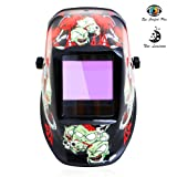 Tekware Welding Helmet 4C Lens Technology Solar Power Auto Darkening Hood True Color LCD Welder Mask Ultra Large Viewing Area Breathable Grinding Helmets with Adjustable Shade Range (Color: PVZ)