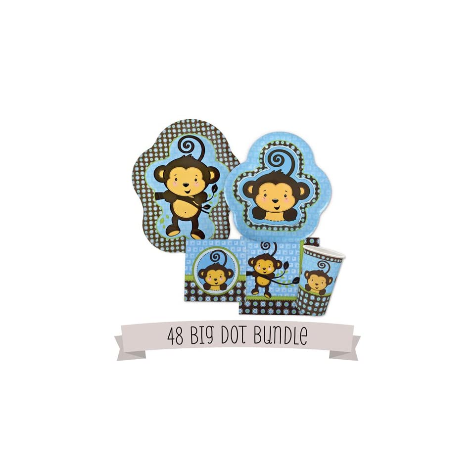 Monkey Boy   Baby Shower Tableware Bundle for 48 Guests