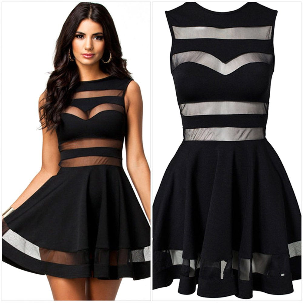 Piggy2gether- Sexy Transparent Mesh Fabric Stitching Open Back Night Party Dress
