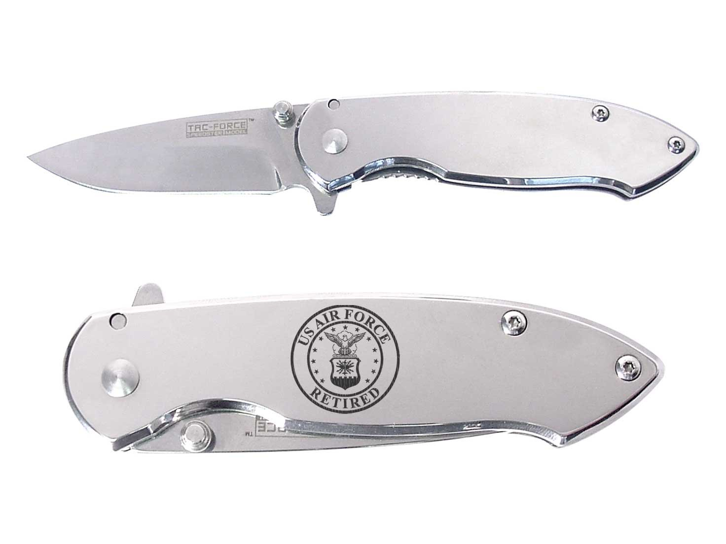 USAF Air Force Round Retired engraved Mirror Finish TAC-Force TF-862C Speedster Executive Model Folding Pocket Knife by NDZ Performance