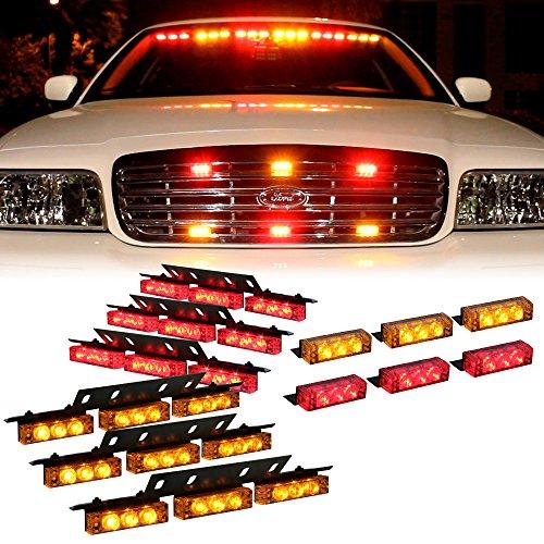 Amber Red 54X Led Security Service Vehicle Dash Deck Grille Strobe Light - 1 Set