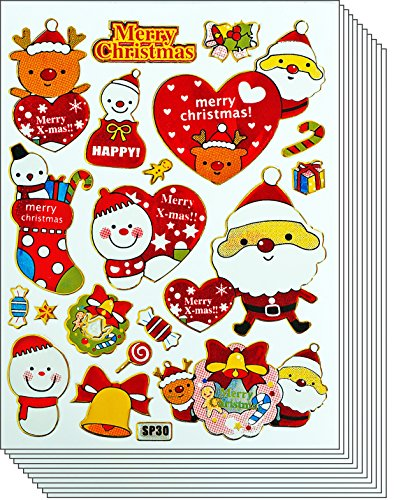 Jazzstick 110 Glitter Merry Christmas Santa Claus Snowman Decorative Sticker 09A9