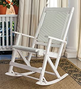 Plow Hearth Folding Wicker Outdoor Rocker Painted Wood Frame With Resin Wicker