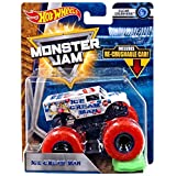 Hot Wheels Monster Jam 2018 Clear Crushers Ice Cream Man (Includes Re-Crushable Car) 1:64 Scale (Color: White With Red Wheels)