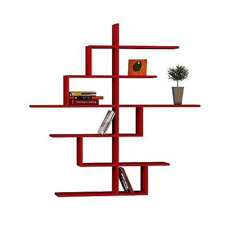 Libreria Con 6 Ripiani 150x150x20cm Laursen Cizgi No.4 Rosso