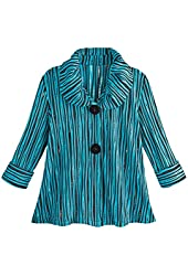 Women's Puffy Collar Blue And Black Striped Jacket