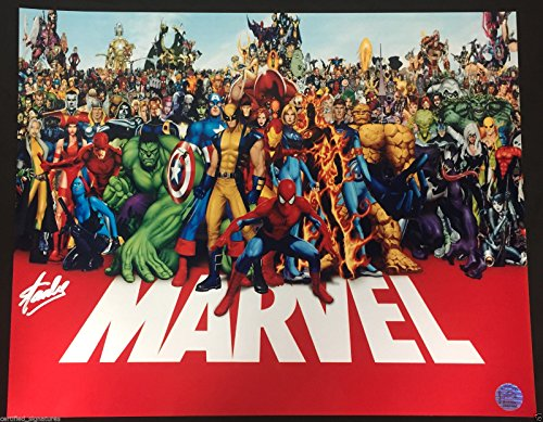 STAN LEE SIGNED MARVEL CHARACTERS 16X20 PHOTO SPIDERMAN HULK STORM HOLOGRAM J57