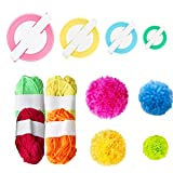 Yoodelife Pompom Makers with 4 Colors Yarns 4 Different Sizes Pom Pom Makers for Fluff Ball Weaver Needle Craft Knitting Tool Set (Color: Pom Pom Makers)