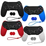 XFUNY Pack of 4 Color Controller Anti-Slip Silicone Protective Half Cover Case Skin Protector with Thumb Grip Cap Cover and Hand Strap for PlayStation 4 Gaming Controller (Color: Colorful)