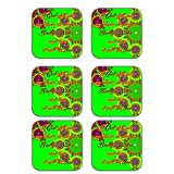 MeSleep Abstract Rakhi Wooden Coaster-Set Of 6 - B013LEOJW6