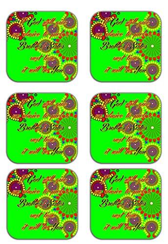 MeSleep Abstract Rakhi Wooden Coaster-Set Of 6 - B013LEOJW6