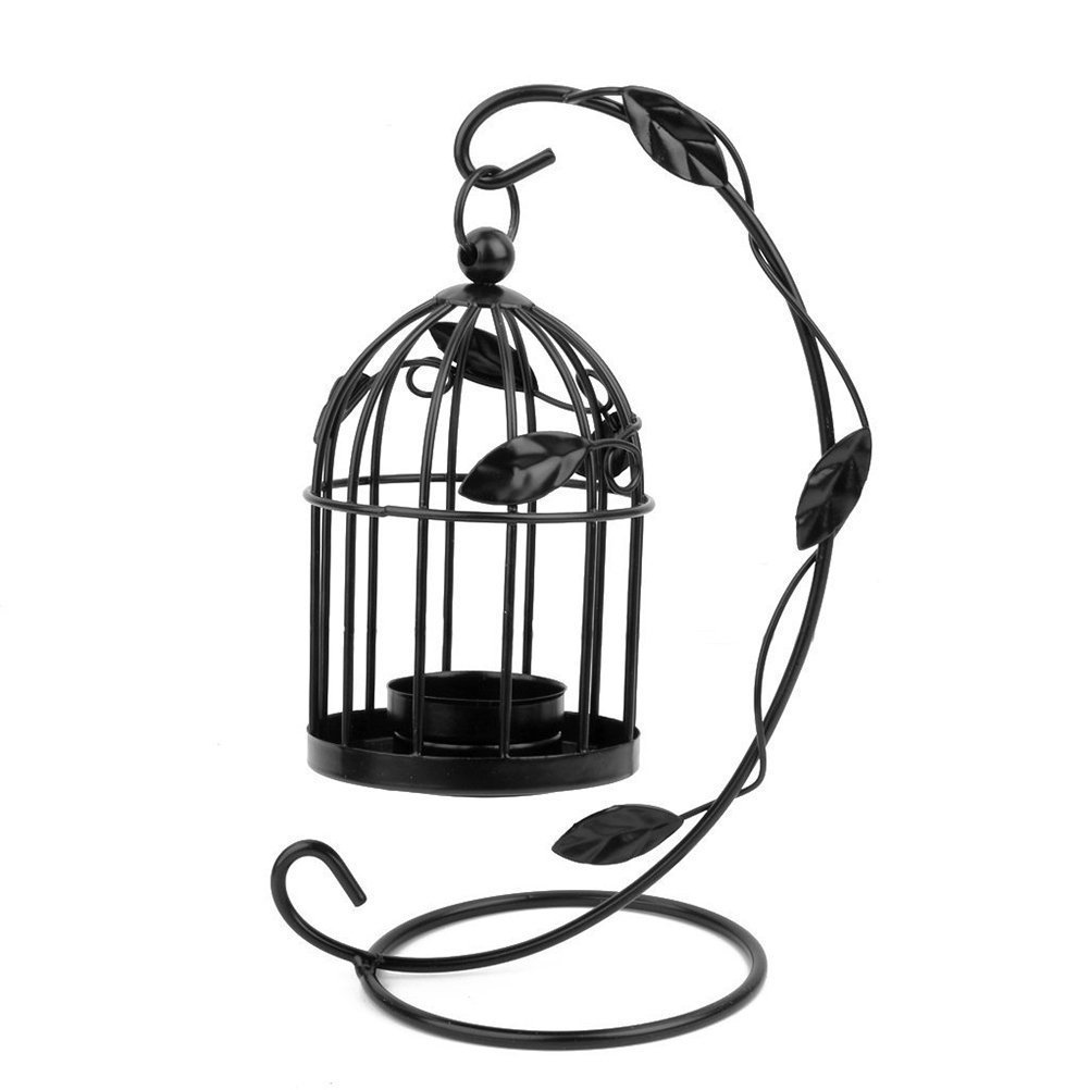 Tinksky Hanging Candle Holder Stand Candlestick Candle Cage Lantern (Black) 0