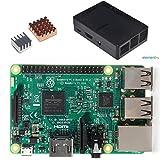 Pi3 本体&ケース&ヒートシンク セット Raspberry Pi 3 Model B+ヒートシンク銅の1つアルミの一つ+保護ケース 3in1キット (ブラックケース) -