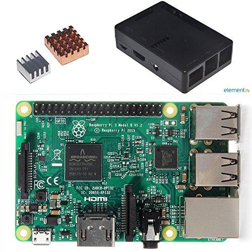 Pi3 本体&ケース&ヒートシンク セット Raspberry Pi 3 Model B+ヒートシンク銅の1つアルミの一つ+保護ケース 3in1キット (ブラックケース)