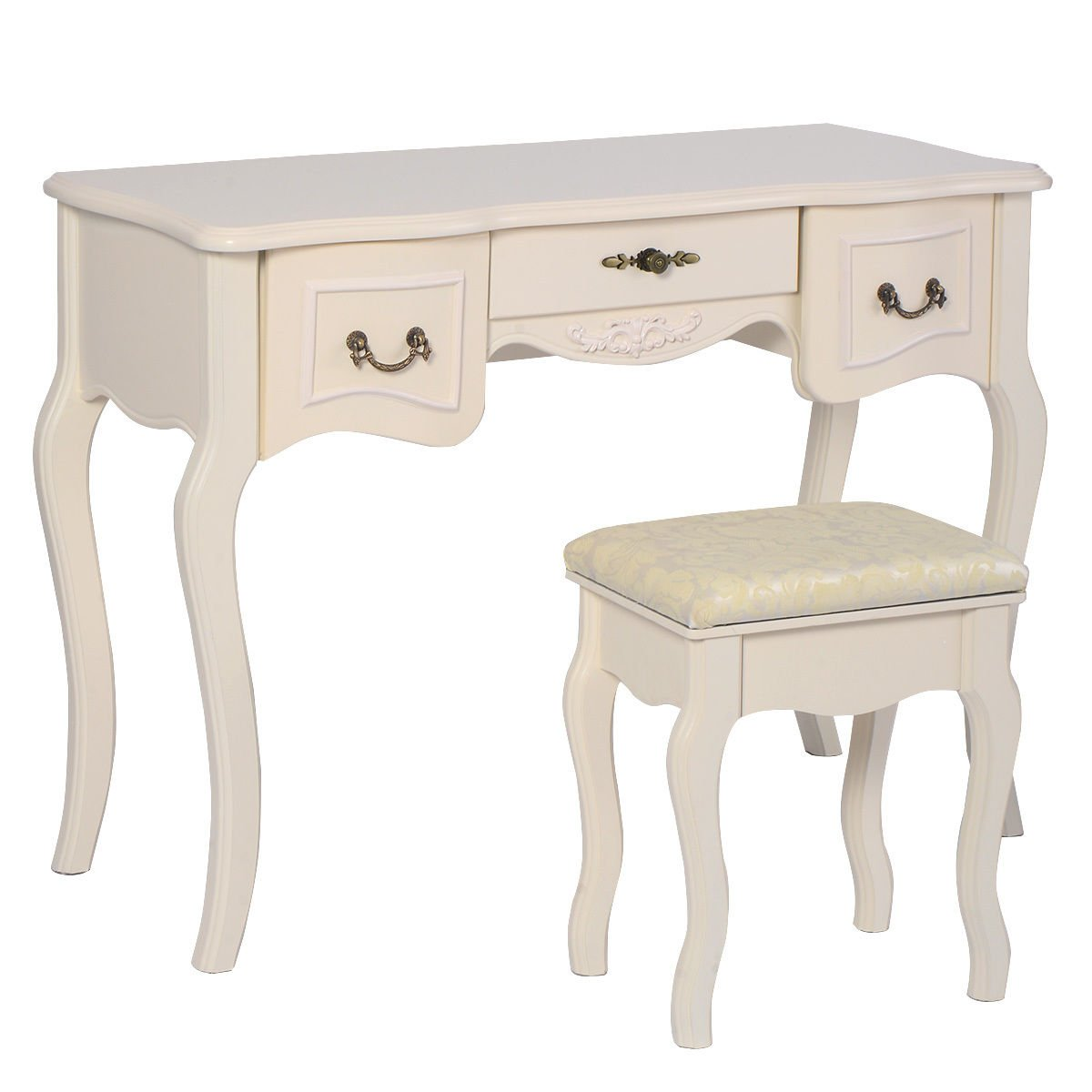 Giantex Tri Folding Vintage White Vanity Makeup Dressing Table Set 5 Drawers &stool 4