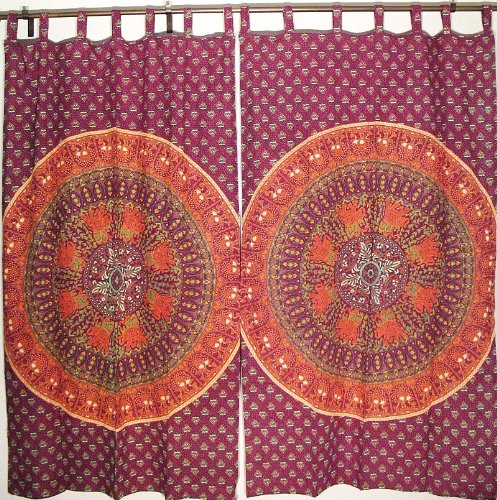 2 Eclectic Home Decor Curtains Ethnic Mandala Living Room Classic Cotton Drapes
